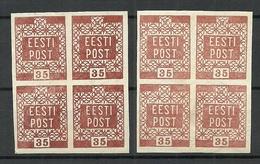 FAUX Estland Estonia 1918/19 Michel 3 Old Forgeries Fälschungen FAKE As 4-blocks MNH - Estonie