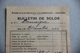 Compagnie PLM, Bulletin De Solde (paie), 1942 - Chemin De Fer