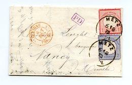 Allemagne - N°4 Et 5 Sur Lettre De Metz 1872 + Convoyeur Allemagne PAG. NANCY - (W1110) - Alemania