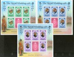 Antigua 1981 Royal Wedding Princess Diana & Charles Sc 523-25 Sheetlet MNH # 9007 - Royalties, Royals