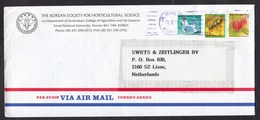 South Korea: Airmail Cover To Netherlands, 3 Stamps, Berry, Insect, Beetle, Rooster, Heritage (minor Damage) - Korea (Zuid)