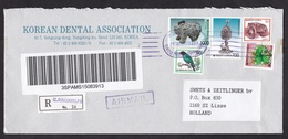 South Korea: Registered Airmail Cover To Netherlands, 5 Stamps, Heritage, Art, Bird, R-label (tape At Back) - Korea (Zuid)