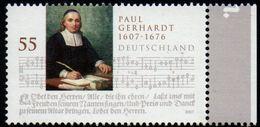 Deutschland 2007 Paul Gerhardt Poet Composer 1 Value MNH Religeous Church Songs - Musique
