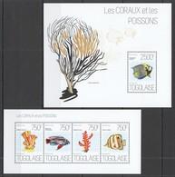WW251 2013 TOGO TOGOLAISE FAUNA FISH & MARINE LIFE CORALS LES CORAUX ET POISSONS KB+BL MNH - Vie Marine