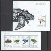 WW253 2013 TOGO TOGOLAISE FAUNA REPTILES MARINE LIFE SEA TURTLES LES TORTUES KB+BL MNH - Turtles