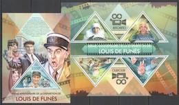 WW283 2013 TOGO TOGOLAISE TRIBUTE TO GREAT CINEMA ACTOR LOUIS DE FUNES KB+BL MNH - Acteurs
