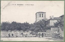 CPA  - CHARENTE - FOUSSIGNAC - LA PLACE DE L'ÉGLISE - Belle Animation, Grand Attelage - F.G.D. - Francia