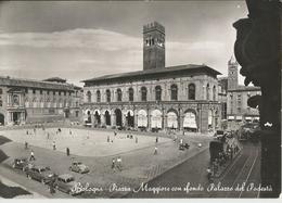 BOLOGNA PIAZZA MAGGIORE -AUTO E TRAM DEL TEMPO -FG - Bologna