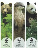Lot De 3 MP Découpés WWF - Panda, Ours Brun Et Loutre - Marque-Pages