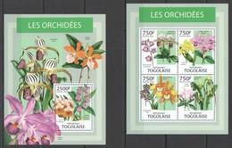 WW306 2013 TOGO TOGOLAISE FLORA FLOWERS ORCHIDS LES ORCHIDEES KB+BL MNH - Orchidées