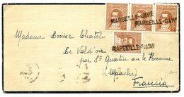 Argentine N°368 X4 Sur Lettre Pour Le Vald'oir - Annulé Griffe MARSEILLE-GARE - (W1116) - Lettres & Documents