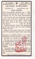 DP Death Card / Emigrant - Julius Vincent ° Lembeke Kaprijke BEL 1867 † Rock Island Illinois USA 1948 X Julia Betsen - Images Religieuses