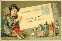 A VOIR ! CHINE CHINA CHROMOS TIMBRES SANGHAI PUBLICITE CAFE MOKA AMERICAIN THEMES ENFANTS COSTUMES - Chine