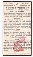 DP Death Card / Emigrant - August Vincent ° Lembeke Kaprijke BEL 1863 † Rock Island Illinois USA 1948 X Emma De Vussar - Images Religieuses