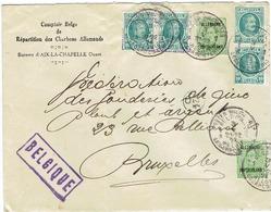 POSTE MILITAIRE  D'AIX LA CHAPELLE A BRUXELLES 1924 TIMBRES NR 194 (4x) Et OCCUPATION NR 65(2x) Rare - België