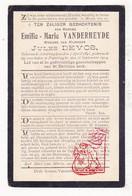 DP Emilie M. VanderHeyde ° Alveringem 1843 † Poperinge 1914 X Jules DeVos - Images Religieuses