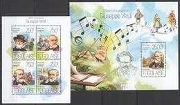 WW352 2013 TOGO TOGOLAISE MUSIC 200TH ANNIVERSARY GREAT COMPOSER GIUSEPPE VERDI KB+BL MNH - Musique
