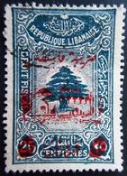 Cedar Overprint Palestine 5p On 25p Fiscal Revenue Stamp Lebanon, Liban Libanon - Liban