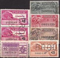 Uruguay - Fx. 2887 - Fiscales - Sellos Firmados Y Perforados Impuestos De Comercio - ** - Uruguay