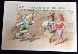 Dijon Mouginot Tisserand Belge Confection Rare Chromo Testu Massin Bal Polichinelle  Calendrier 1876 - Kaufmanns- Und Zigarettenbilder