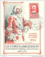 """Tunisie ; FDC 1953; Carte Maximum """" Journée Du Timbre """" - Tunisie (1956-...)"""
