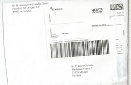 ESPAÑA ETIQUETA LABEL Carta Certificada Coruña - 1931-Hoy: 2ª República - ... Juan Carlos I