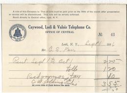 USA CAYWOOD LODI & VALOIS TELEPHONE CO INVOICE 1936 - United States