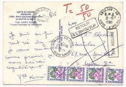 Carte Abidjan Cote D'Ivoire Chiffre Taxe Bande Pour Lyon Retour - Côte D'Ivoire (1960-...)