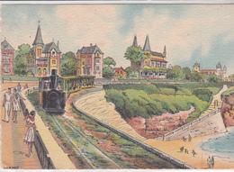 CPSM LITHOGRAPHIE  ROYAN  17 :   Aquarelle ( Repro ) : Pontaillac Le Petit Train - Royan