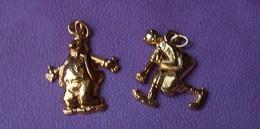 Fève 1992 Lot De Deux Fèves Popeye Et Olive (T 663) Fèves Dorées - Characters