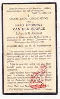 DP Kind - Maria P. Van Den Broeck 9j. ° Schoten 1924 † Antwerpen 1934 - Images Religieuses