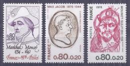 Francia 1976. YT = 1880-82 - Nuevos Sin Fijasellos (**). Celebridades - France