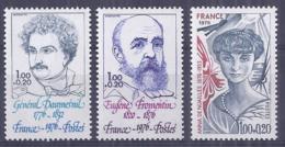 Francia 1976. YT = 1896-88 - Nuevos Sin Fijasellos (**). Celebridades - France