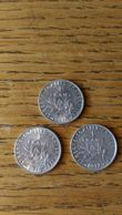 3 Pièces 1 Francs Semeuse Argent 1915/16/17 TBE - France