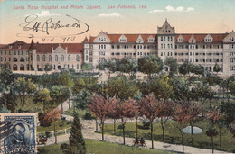 CPA - Santa Rosa Hospital And Milam Square. San Antonio, Texas- 1913-2scans - San Antonio