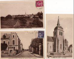 37. 3 CPA. FONDETTES.  Carrefour Des Routes De Pernay Et D'ambillou, Vue Panoramique. Le Clocher De L'église - Fondettes