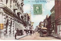 CPA - Commerce Street, San Antonio, Texas,1914-(très Belle Carte Animée Calèches Personnages) 2scans - San Antonio