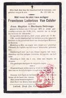 DP Franciscus L. Van Calster / Delronge ° Kerkom Boutersem 1878 † 1916 - Images Religieuses
