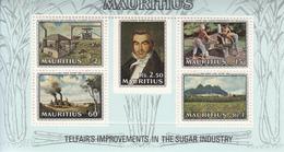 1969 Mauritius Telfair's Improvements To Sugar Industry Portrait, Cane Crusher, Factory, Plantation  Souvenir Sheet Of 5 - Maurice (1968-...)