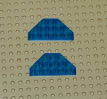 Lego Lot 2x Aile Coin Plate Space 3x6 Bleu Transparent Ref 2419 - Lego Technic