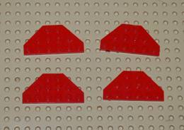 Lego Lot 4x Aile Coin Plate Space 3x6 Rouge Ref 2419 - Lego Technic