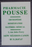 Petit Calendrier De Poche Plastifié 1994 Pharmacie Mézidon Canon Calvados- 1 Volet - Calendars