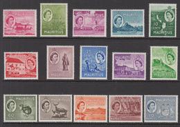 1953 - 54 Mauritius QEII Definitives Cpl Set Of 15 MNH - Mauritius (1968-...)