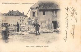 CPA 71 BOURBON LANCY INONDATION DU 7 JUIN PLACE D'ALIGRE DEBLAYAGE DU PAVILLON (dos Non Divisé) - France
