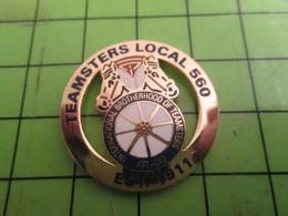 718B Pins Pin's / Rare & De Belle Qualité  THEME : ASSOCIATION / MAFIA US CAMIONNEURS TEAMSTERS LOCAL 560 ROUE CHEVAL - Associations