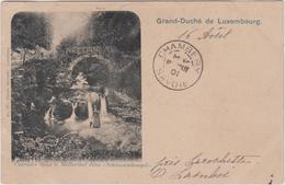 Luxembourg  Carte Precurseur Cachet Affranchissement 1901   Cascades Dans Le Mullerthal Dite Schiessendempel  Larochette - Larochette