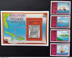 British Virgin Islands 1991** Mi.739-42,bl.69 Columbus' Exploration [21;28] - Christopher Columbus