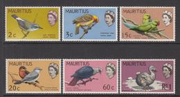 1968 Mauritius Bird Types '65 Changed Background Colours  Set Of 6 MNH - Mauritius (1968-...)