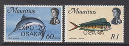 1970 Mauritius Fish Overprinted Expo'70 Osaka Set Of 2 MNH - Mauritius (1968-...)