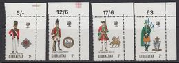 Gibraltar 1970 Uniforms 4v (corners) ** Mnh (41485S) - Gibraltar